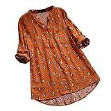 Camisa Mujer Playa Cuello Redondo Manga Larga Suelto algodón y Lino Camiseta Elegantes Arriba Casual Top Oficina Basica Primavera y Verano riou