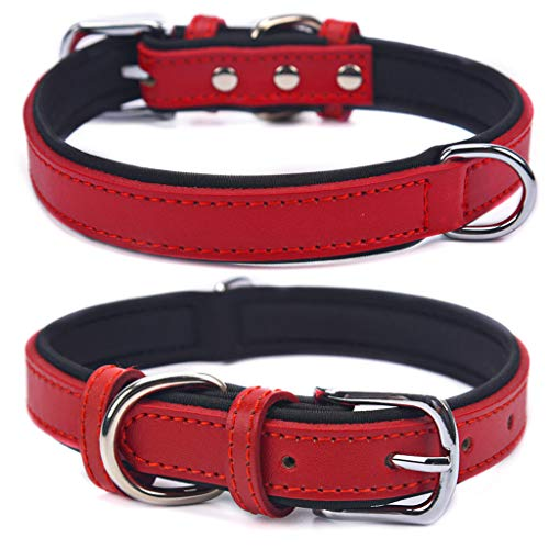 Genuine Leather Dog Collar, Soft Neoprene Padded Puppy Collars, Adjustable Pet Collars with D Ring Fit Small Medium Large Dog, RED XS