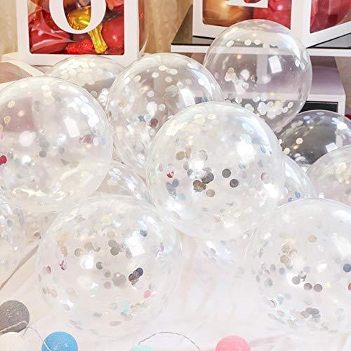 SELLA Hochzeitsdekorationen Party Ballon Alles Gute zum Geburtstag Aluminiumfolie Pailletten Babyparty Brautdusche Luftkugeln 12 Zoll, Weiß, 20 Stück