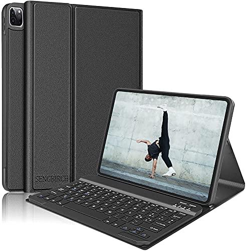 """SENGBIRCH Tastiera Custodia per iPad PRO 11"""" 2021/2020/2018, Bluetooth Senza fili Italiano Portatile Tastiera con Slim Smart Case Cover Magnetico Per iPad PRO 11, Nero"""