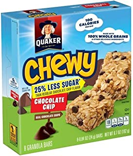 Quaker Chewy 25% Less Sugar Chocolate Chip Granola Bars 0.84 Oz. (Pack of 2)