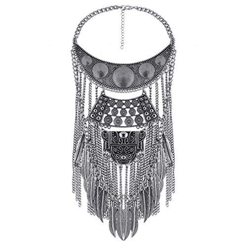 YAZILIND Frauen Halsketten Anhänger Kristall Maxi Choker Statement Silber Boho Schmuck