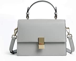 Fashion New Retro Casual Fashion Bills Shoulder Slung Small Handbag Female Cowhide Bag (Color : Gray)