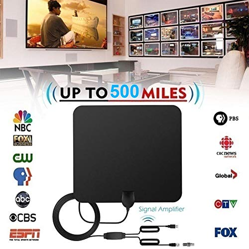 happygirr HD-TV-Antenne, 2019 Digitale HD-Indoor-Antenne mit 500 Meilen Reichweite 4K Ultra HD mit abnehmbarem Verstärkersignalverstärker für 4K / HD/VHF/UHF-Signalkanäle