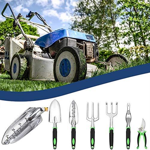 Aujelly Juego de herramientas de jardín de 6 piezas de aluminio ligero con mango ergonómico antideslizante de goma suave, juego de regalo de jardín (negro)
