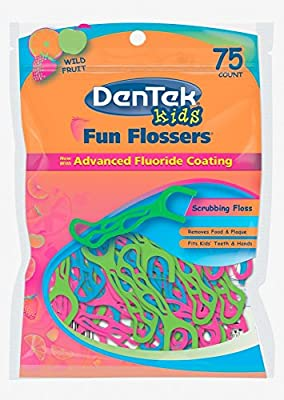 DenTek Fun Flossers for Kids, Wild Fruit Floss Picks,Easy Grip for Kids,75 Count (Pack of 1)