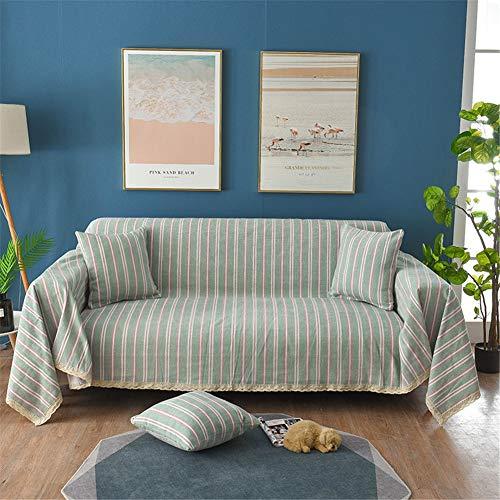 MLAH Stripe Sofa, Chenille Cover Canapé en Tissu Serviette pour Living Room Furniture Fauteuil Slipcovers Décor Protector,Vert,180 * 380CM