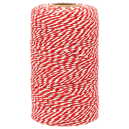 Cotton Bakers Twine,656 Feet Cotton String for Crafts,Gift Wrapping Twine,Arts & Crafts, Home Decor, Gift Packaging (Red and White)