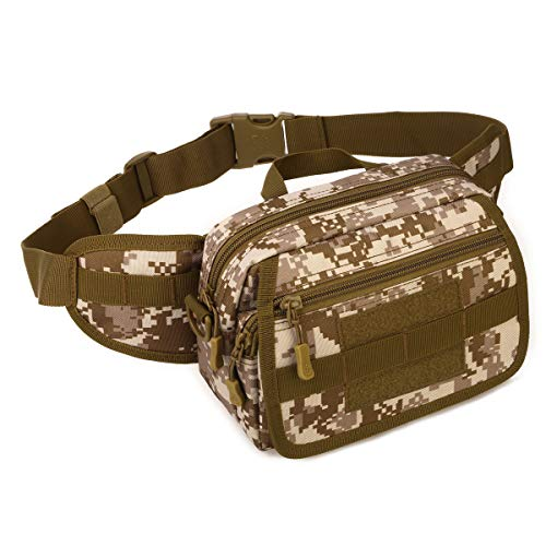HUKJ Combination with Three Pockets Pockets Camouflage Messenger Bag Outdoor Sports, Tactical Road Sub-Packet with Three Multi-Pack Pockets,brown camouflage