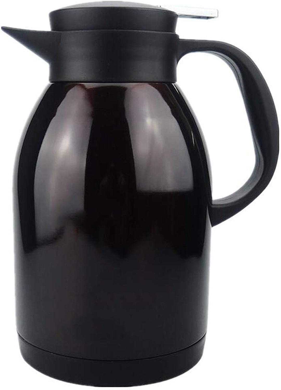 Bouilloire de vide d'isolation de bureau en acier inoxydable de grande capacité extérieure 304 de ménage de pot d'isolation (Couleur   noir)