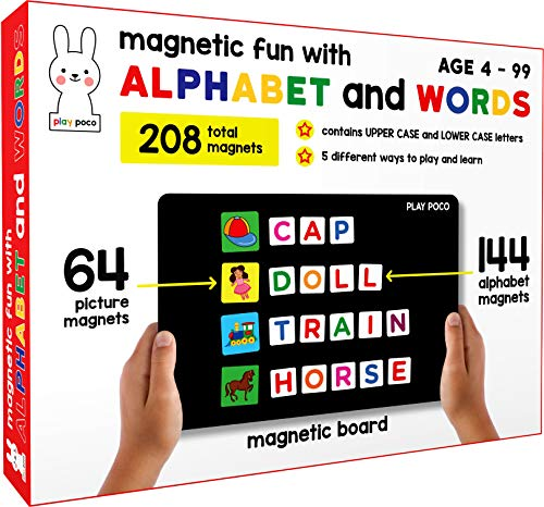 Play Poco Magnetic Fun with Alphabet and Words – with 64 Picture Magnets, 144 Letter Magnets (Capital & Small) Magnetic Board and Spelling Guide, Red
