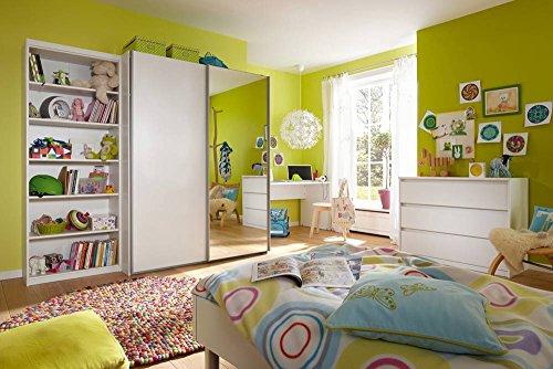 lifestyle4living 5-TLG. Jugendzimmer in weiß mit Regal (B: 72 cm), Schwebetürenschrank (B: 150 cm), Schreibtisch (B: 150 cm), Kommode (B: 106 cm)...