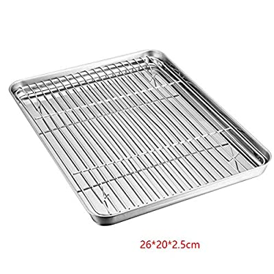 Stainless Steel Baking Tray Oven Pan with Cooling Rack, Mini Oven Tray,Baking Sheet Toaster Pan Cookie,Healthy & Non Toxic, Easy Clean & Dishwasher Safe (1Tray+1 Rack)