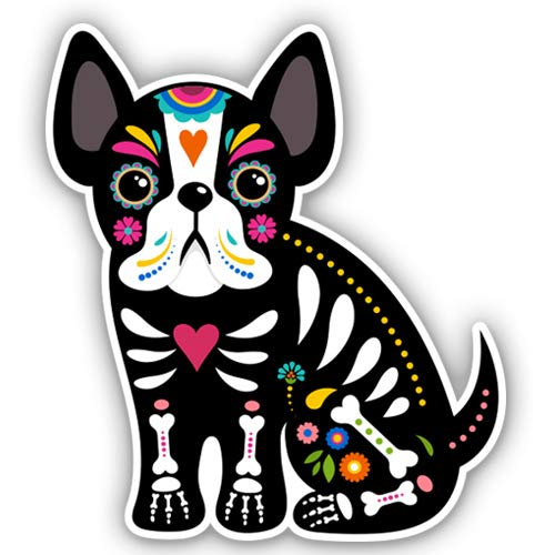 French Bulldog Mexican Sugar Skull Dog - 3' Vinyl Sticker - for Car Laptop Water Bottle Phone - Waterproof Decal