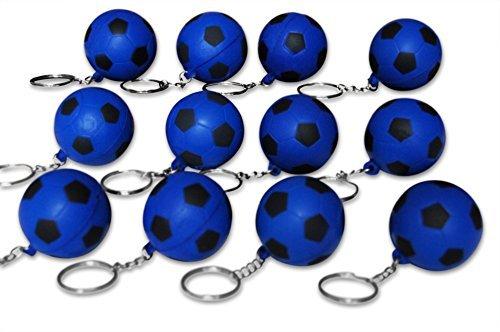 Novel Merk 12 Pack Blue Soccer Ball Keychains for Kids Party Favors & School Carnival Prizes