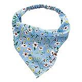 Harilla Moda mujer Bandana elástico suave Bohemia banda para el cabello estampado Headwear Head Wrap bufanda para el cabello accesorios para el cabello - Azul