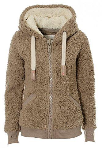 Vilier Veste à capuche en polaire douce pour femme Couleur taupe - Marron - 46