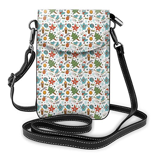 Women Small Cell Phone Purse Crossbody,Birds With Boots Muffin And Skates Winter Xmas Season Style Elements Pattern