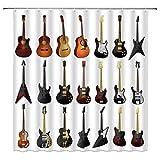 Musik-Duschvorhang Gitarre Instrument Party Weiß Braun Badezimmer Gardinen Dekor Polyester Stoff Schnell Trocknend 183 x 183 cm Inklusive Haken