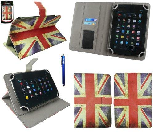 Emartbuy® BigBen Unity Tab 7 Tablet PC 7 Zoll Universalbereich Union Jack Multi Angle Exekutiv Folio Mappen Kasten Abdeckung mit Kartensteckplätze + Blau Eingabestift