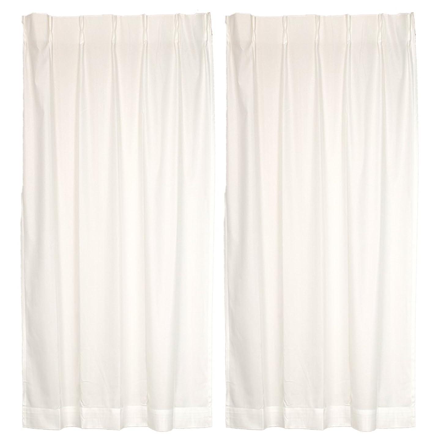 過剰流すお別れオーダーカーテン 2重加工 UVカット ミラーレースカーテン アイボリー 幅181cm 丈154cm フックA ウォッシャブル 遮熱 2枚組 A-221935