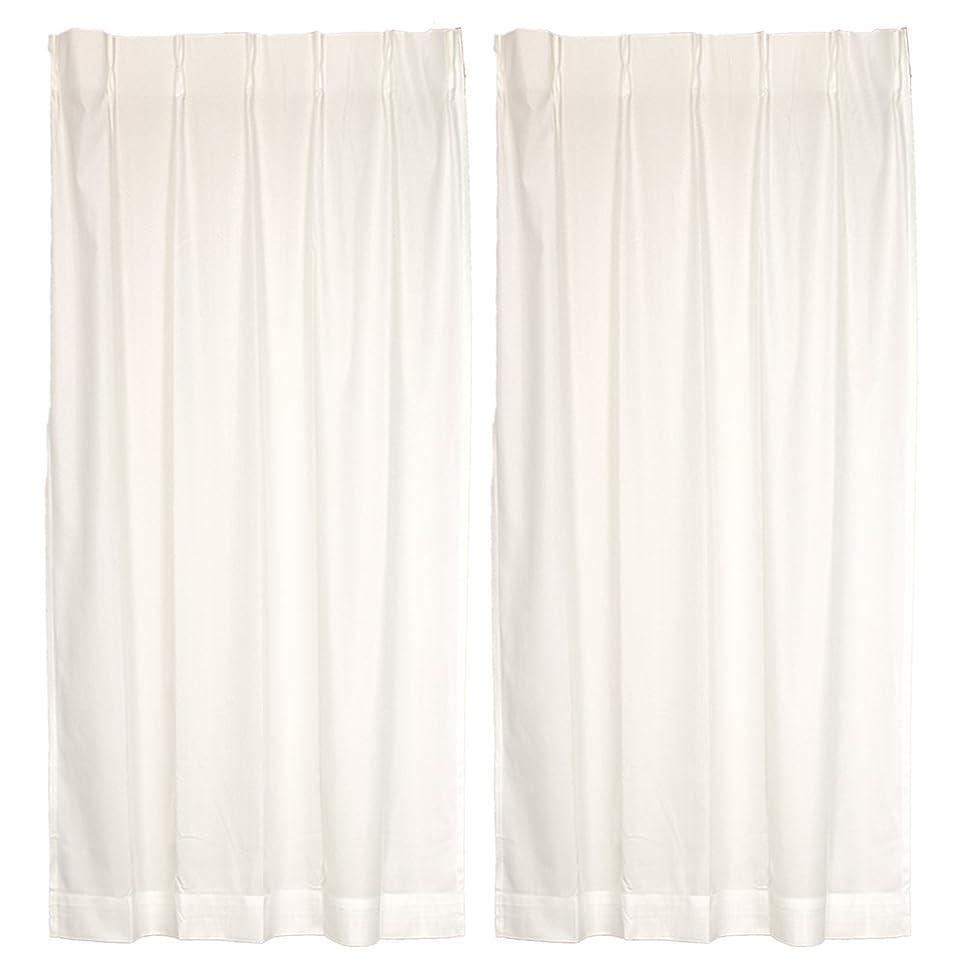 卵処理恒久的オーダーカーテン 2重加工 UVカット ミラーレースカーテン アイボリー 幅99cm 丈174cm フックB ウォッシャブル 遮熱 2枚組 A-221935