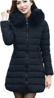 134b16c69ddb2 Manteau Femme Hiver Blouson Doudoune en Laine Noir Veste à Capuche épais  Chaud Col Fourrure Confortable