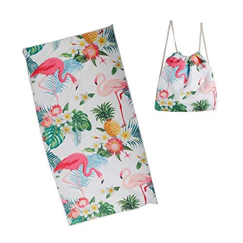 iD FOR YOU - Toalla de playa de microfibra y mochila integrada – Jardin/Camping/Sport/Plad/Baño – Color flamenco rosa piña