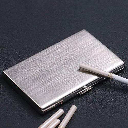 JXINGY Estuche para Cigarrillos de Acero Inoxidable, Soporte con Marco de Metal, Paquete de 12 Cigarrillos portátiles ultrafinos Gentleman Essential