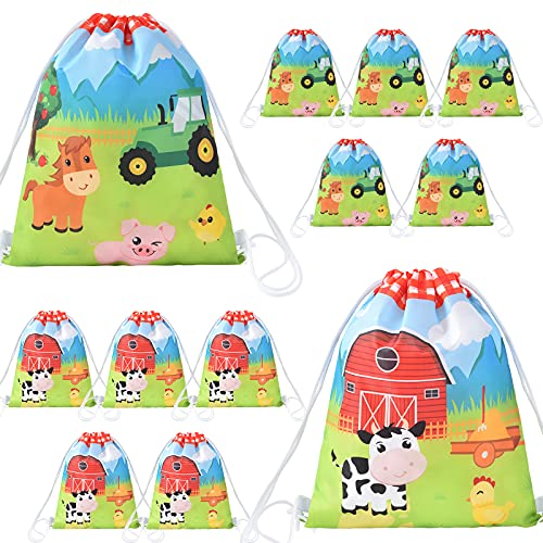 Farm String Bags - 12 Pack 10   x 12   Farm Animal Party Favor Gifts Bag for Kids Children Drawstring Pouches Wrap Goodie Bags Party Supplies for Birthday Christmas Travel Gym Beach