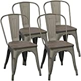 wood and metal kitchen chairs - Yaheetech Metal Dining Chairs with Wood Seat/Top Stackable Side Chairs Kitchen Chairs with Back Indoor-Outdoor Classic/Chic/Industrial/Vintage Bistro Café Trattoria Kitchen Gun Metal, Set of 4