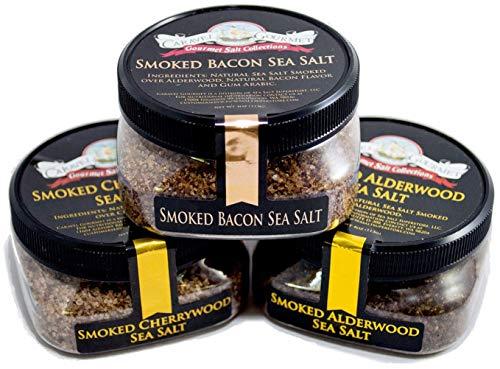 Smoked Sea Salt 3-Pack: Smoked Bacon, Smoked Cherrywood, Smoked Alderwood - All-Natural Sea Salts Slowly Smoked Over Alderwood - No Gluten, No MSG, Non-GMO (12 total oz.)