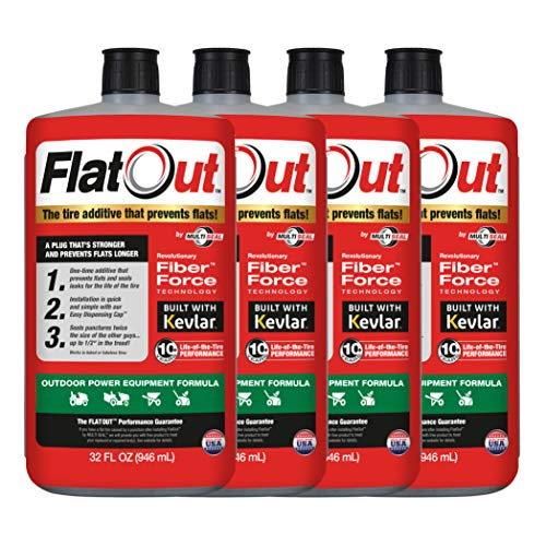 FlatOut 20124 Tire Sealant (Outdoor Power Equipment Formula), Great for Lawn Mowers, Small Tractors, Wheelbarrows, Woodchippers, Snow Blowers and more, 32-Ounce, 4-Pack