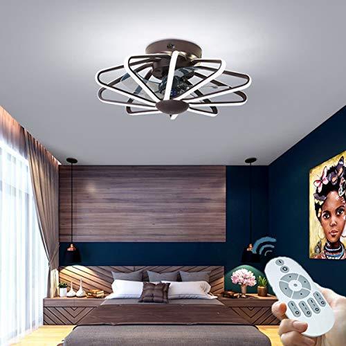 CDwxqBB Deckenventilator Mit LED-Beleuchtung, 220 V Reines Kupfer Mit Ferngesteuertem Motor, 112 W, Geeignet Für Kühlung Und Beleuchtung Im Wohn- Und Schlafzimmer,Braun