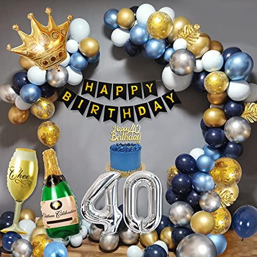 40 Años Decoracion Cumpleaños Hombres, Decoraciones Fiesta Oro Azul con 40 Globos Papel Aluminio, Pancarta Feliz Cumpleaños, Globos Cazul Marino Dorado Plateado para Cumpleaños 40 Años Hombres