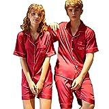 Zweiteilige Sets Frauen Männer Pyjamas Langarm-Silk Morgenmantel Bequem Und Weich Frühling Und Herbst (Color : Ladies, Size : L)