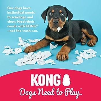 KONG - Puppy Caoutchouc Naturel Premières Dents - Jouet à Mâcher, Chasser et Rapporter (Coloris Variable) - pour Chiot Petite Taille