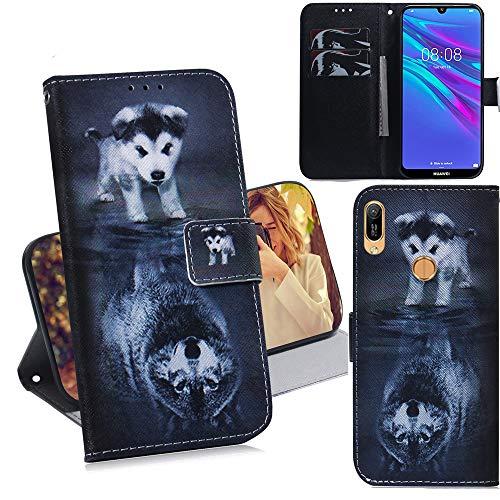 DodoBuy Huawei Y6 2019/Honor 8A/Y6s Hülle Flip PU Leder Schutzhülle Handy Tasche Hülle Cover Wallet Standfunktion mit Kartenfächer Magnetverschluss für Huawei Y6 2019/Honor 8A/Y6s - H& Wolf