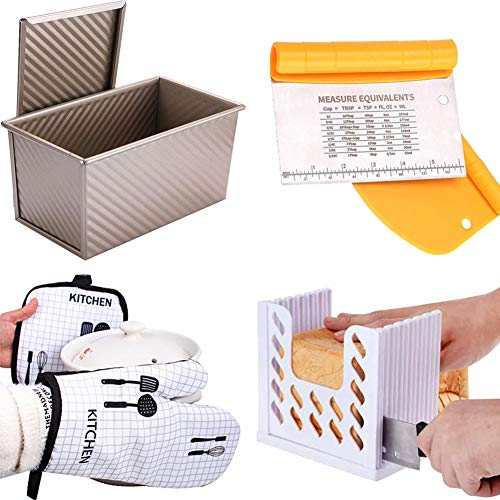 Primary Bread Baking Set of 4 = Pullman Loaf Pan + Bench Dough Scraper + Bread Slicer + Oven Mitt and Pot Holder