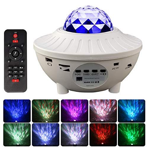 IANSISI Proyector de Cielo Estrellado LED Luz Nocturna,con Bluetooth, Temporizador y Reproductor de música USB con Control Remoto, para niños Dormitorio Cumpleaños Boda