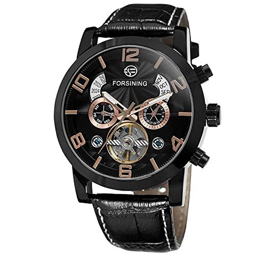 Excellent Relojes para Hombre Strap de Cuero mecánico Gypsophila Tourbillon Relojes automáticos de Pulsera para Hombres Mens Skeleton Mecánico Mecánico Reloj,A10