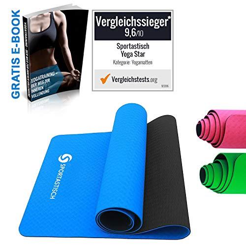 Sportastisch Yogamatte Vergleichssieger¹ Yoga Star Gymnastikmatte, rutschfeste & Gepolsterte Fitnessmatte Sportmatte für Pilates Fitness Gymnastik, GRATIS E-Book & bis zu 3 Jahren Garantie² (Blau)
