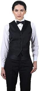 SixStarUniforms Women's Full Back Tuxedo Vest with Black Lapel