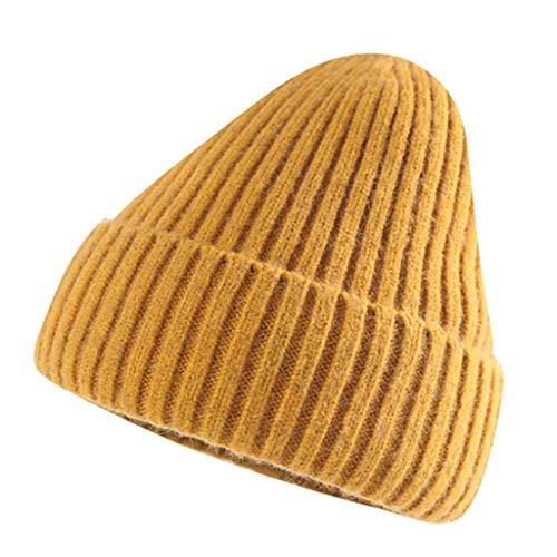 SHYPT Frauen Männer Unisex-Winter-warme Textur Gestrickte Faule Topless Hut, Bequemes Material, Einfache Und Universelle (Color : Yellow)