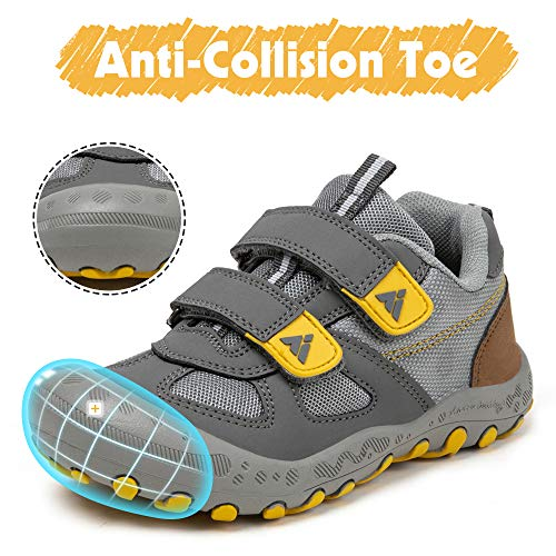 Zapatos de Bambas Niños Niña Zapatillas Senderismo Antideslizante Caminando Trekking Sneakers Gris 34 EU