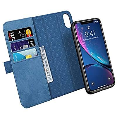 "iPhone XR Case Zover Detachable Premium PU Leather Wallet Case [RFID Blocking] Flip Folio Book Cover with Cards Holder Support Wireless Charging Car Mount Kickstand Feature?iPhone XR 6.1"" Navy Blue?"