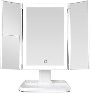 آینه آرایش Vanity Mirror with Lights - 72 LED Tripleold Mirror 3 حالت نورپردازی رنگی ، طراحی کنترل لمسی ، بزرگنمایی 1x/2x/3x ، آینه لوازم آرایشی روشن با کیفیت بالا قابل حمل