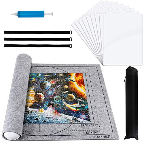 """Libay Jigsaw Puzzle Mat Roll Up, Puzzle Saver Store 500 1000 1500 2000 Pieces Felt Puzzle Mat with 9 Pieces Puzzle Glue Sheets for Kids and Adults, Hand Pump Inflatable Tube and Storage Bag 42"""" X 29"""""""