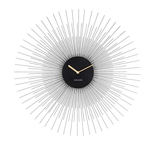 Karlsson - Uhr, Wanduhr - mit Strahlenkranz - Schwarz - Peony - Ø: 60 cm