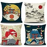 QXbecky Funda de cojín para sofá de Lino Vintage Nacional Monte Fuji Tela de Estilo japonés Funda de cojín de Almohada de Lino Ukiyo-e 45 cm